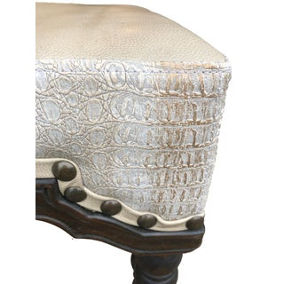 Boho Chic Zenith Backless Cream Crocodile Embossed Leather Bar Stool Preview