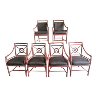 1970s McGuire Rattan Target Dining Chairs- Set of 6 For Sale
