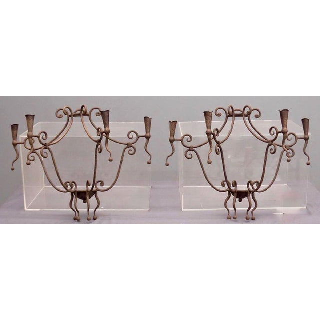 Monumental Gothic Iron Candle Sconces - A Pair For Sale In Boston - Image 6 of 6
