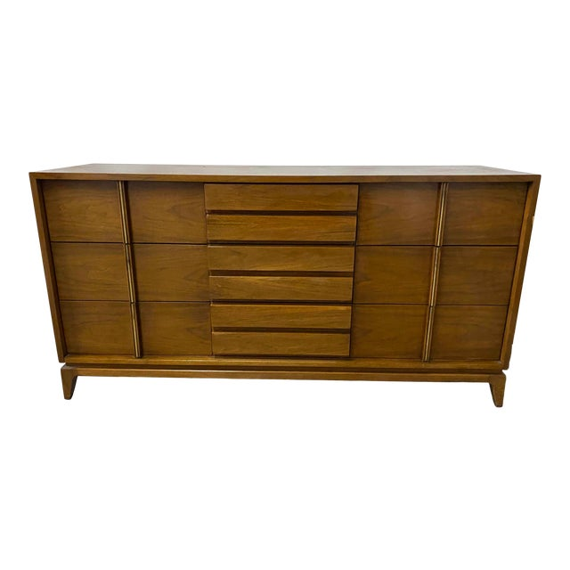 American of Martinsville 9 Drawer Walnut Dresser With Brass Accents For Sale