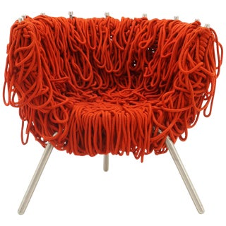 Vermelha Chair by Fernando and Humberto Campana for Edra, Red Rope, Aluminum For Sale