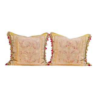 Pair of 19th C. French Aubusson Pillows With Tassles For Sale