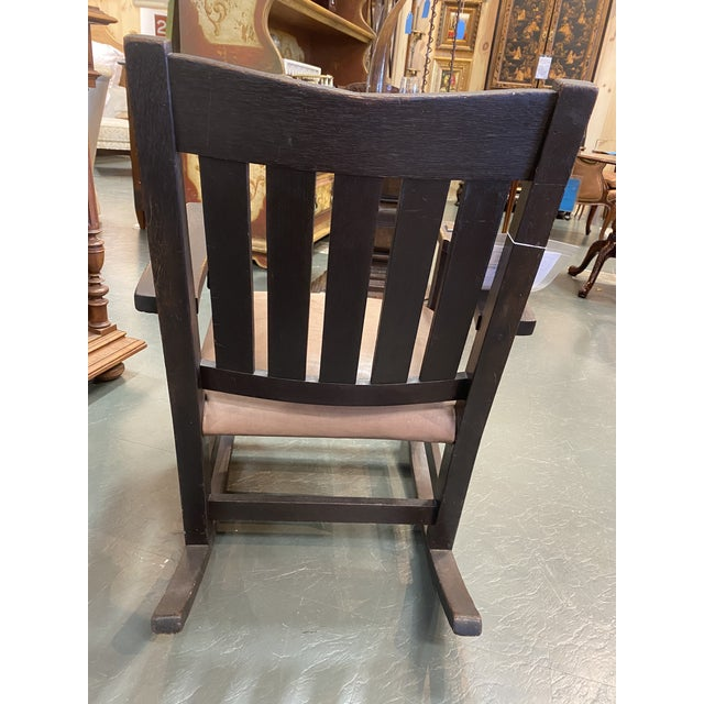 Arts & Crafts Original Gustav Stickley Rocking Chair With Leather Seat For Sale - Image 3 of 10