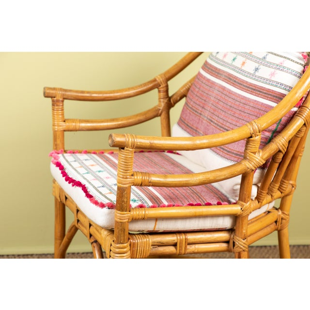 Mid 20th Century Vintage Rattan Chair With Injiri Cushions For Sale - Image 5 of 9