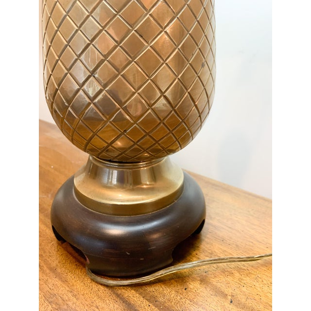 1960s Frederick Cooper Brass Pineapple Table Lamp For Sale - Image 9 of 10