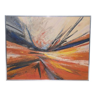 Hilda Pertha Mid Modern Abstract Oil Painting C.1973 For Sale