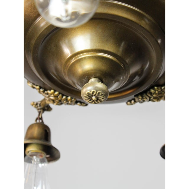 Brass Colonial Revival Light Fixture (5-Light) For Sale - Image 7 of 10