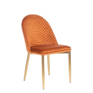 Wave Upholstered Dining Chair in Amber For Sale