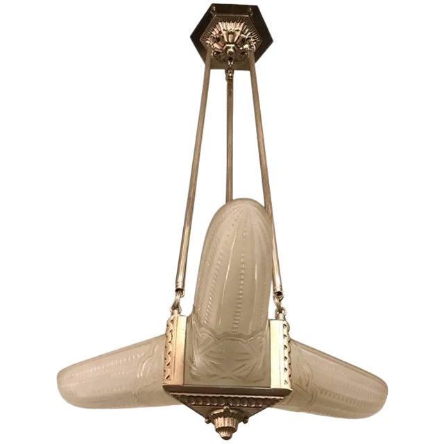 French Art Deco Triangular Starburst Chandelier For Sale