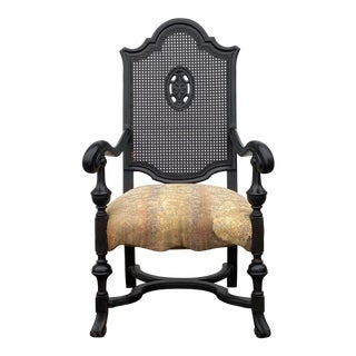 Antique Oversized Cane Back Arm Chair For Sale