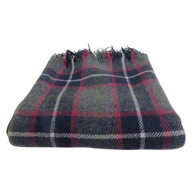 Gray Plaid Blanket For Sale