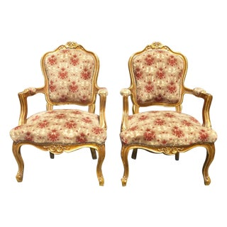 Antique Ornate French Rococo Louis XV Gold Orange Velvet Arm Chairs - Pair For Sale