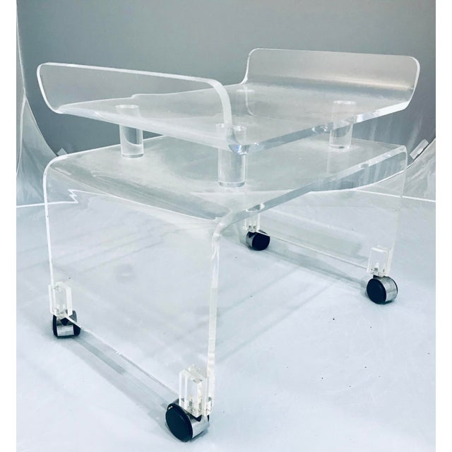 1970s Vintage Hill Manufacture Thick Lucite Vanity Bench For Sale In West Palm - Image 6 of 6