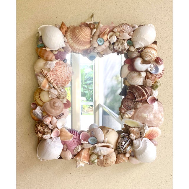 Coastal Vintage Coastal Artist Made Shell Mirror For Sale - Image 3 of 8