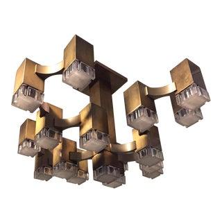 Gaetano Sciolari Brass 17-Light Lucite Cube Chandelier for Lightolier For Sale