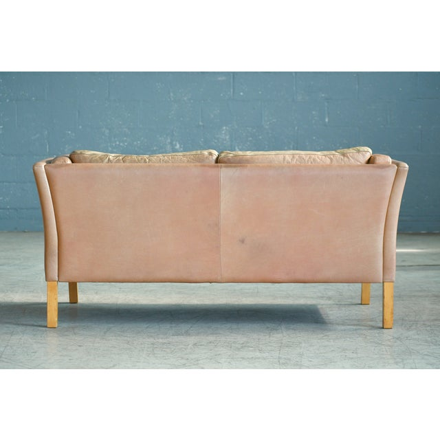 Danish Loveseat in Butterscotch Worn Leather by Stouby Mobler For Sale - Image 11 of 12