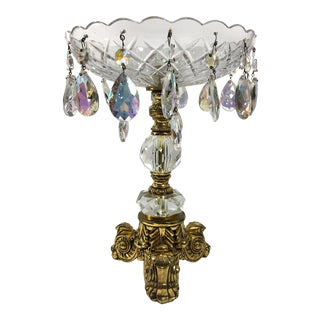 Hollywood Regency Gilt Compote With Crystals For Sale
