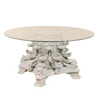 Vintage Mid Century American Corinthian Capital Base Round Glass Top Table For Sale