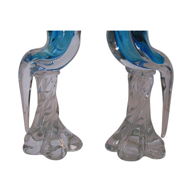 Murano Blue Glass Cockatoos - A Pair - Image 5 of 5