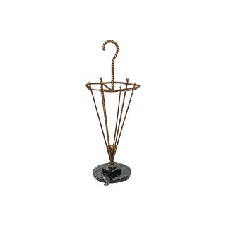 Gilt Umbrella Stand With Marble Base For Sale