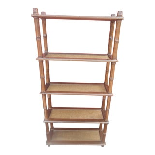 1960s Mid-Century Modern Faux Bamboo Book Shelf For Sale