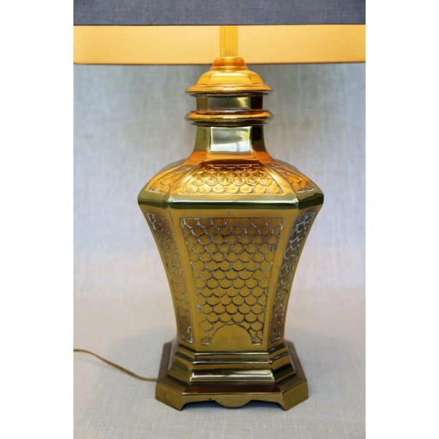 Brass Fish Scale Design Pagoda Lamp For Sale In Tampa - Image 6 of 10