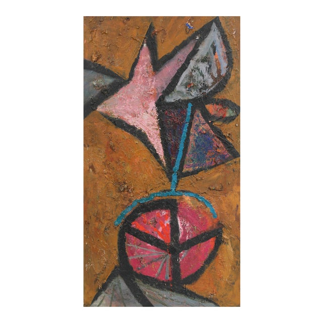 Modernist Abstract Painting in Oil, Circa 1950s For Sale