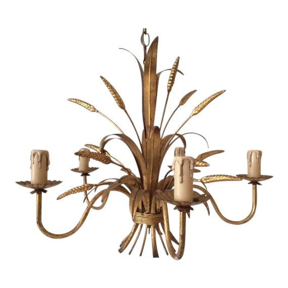 Vintage Hollywood Regency Gilt Wheat Metal Chandelier - Image 1 of 10