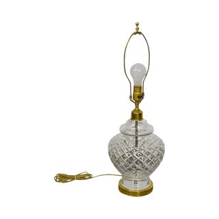 Waterford Brass Base Crystal Table Lamp For Sale