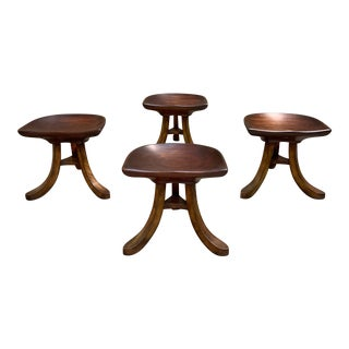 1950s Vintage Sculpted Mahogany Tripod Stools After Adolf Loos - Set of 4 For Sale