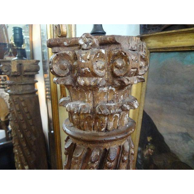 Wood 19th Century Italian Giltwood Corinthian Column Table Lamp For Sale - Image 7 of 11