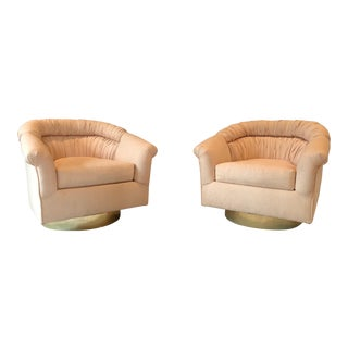 1970s Vintage Milo Baughman Style Swivel Chairs- A Pair For Sale