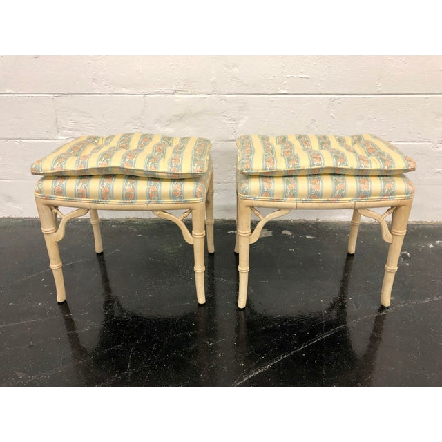 Regency Style Faux Bamboo Benches - a Pair For Sale In Richmond - Image 6 of 6