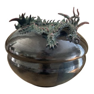 Signed Sculptural Asian Style Dragon Form Lidded Pottery Vessel For Sale