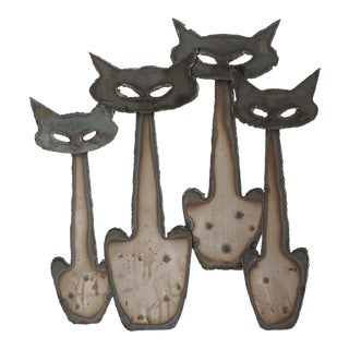 Vintage Mid Century Peter Pepper Products Metal Cats Wall Sculpture For Sale