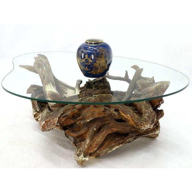 Gesso Washed and Stained Kidney Shape Glass Top Natural Driftwood Coffee Table For Sale - Image 10 of 13