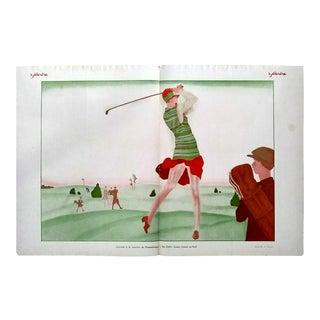 """Lorenzi 1927 """"Jouant Au Golf"""" Le Sourire Print"""