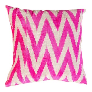Vintage Designer Velvet Pink Sofa Pillow For Sale