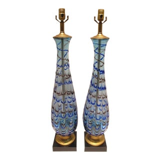 1960s Murano Blue Feather Glass Lamps - a Pair For Sale