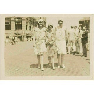 Vintage Shabby Chic Photo of Flapper Girls on the Atlantic City Boardwalk For Sale
