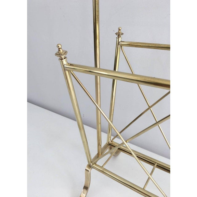 1940s French Brass and Glass Magazine Rack, Attributed to Maison Jansen For Sale - Image 5 of 11