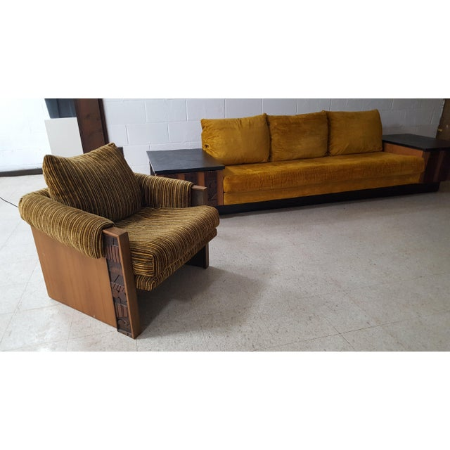 1970s Brutalist Lane Furniture 'Pueblo' Sofa W/ Attached End Tables For Sale - Image 10 of 13