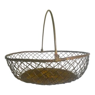 Rare Vintage 1940's Extra Large Brass Handwoven French Market Handled Basket For Sale