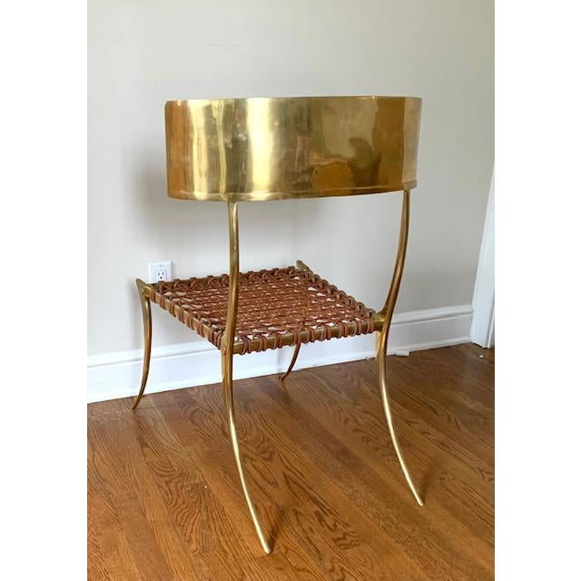 Scala Luxury Brass Leather Klismos Chair For Sale - Image 10 of 12