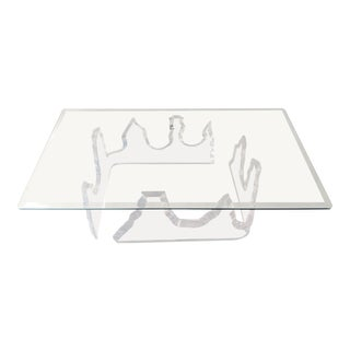 Lion in Frost Style Lucite Iceberg Coffee 2-Piece Table Base For Sale