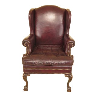 1980s Vintage Lackawanna Leather Ball & Claw Wing Back Easy Chair For Sale