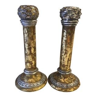 Gold & Silver Italian Florentine Candle Holders - A Pair For Sale