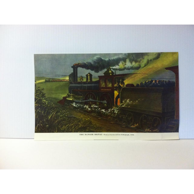 """Currier & Ives Color Print, """"The Danger Signal - 1884"""", Circa 1950 For Sale - Image 4 of 4"""