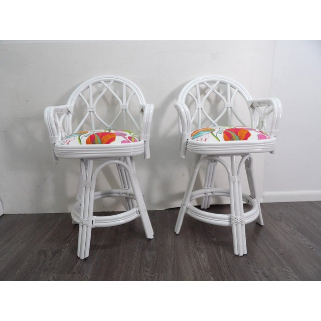 Wood Mid 20th Century Bamboo Swivel Counter Stools-a Pair For Sale - Image 7 of 7