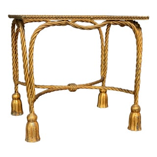 1960s Italian Hollywood Regency Gold Gilt Rope Tassel Table Frame For Sale